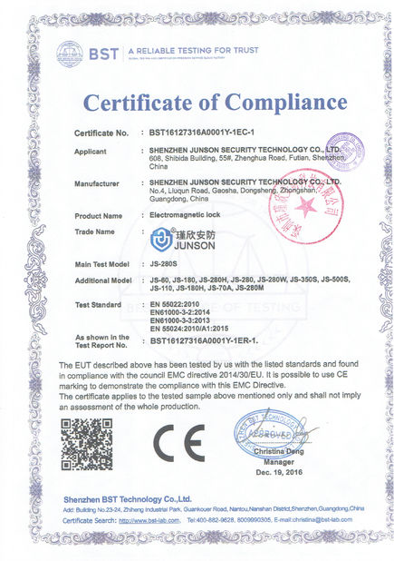 China Shen Zhen Junson Security Technology Co. Ltd certificaten
